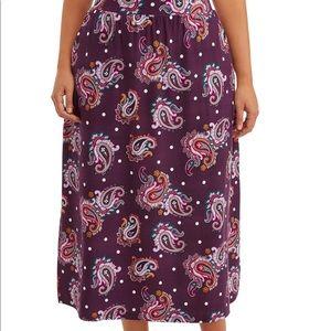💜 Purple Floral Paisley Long Maxi Skirt Plus 4X